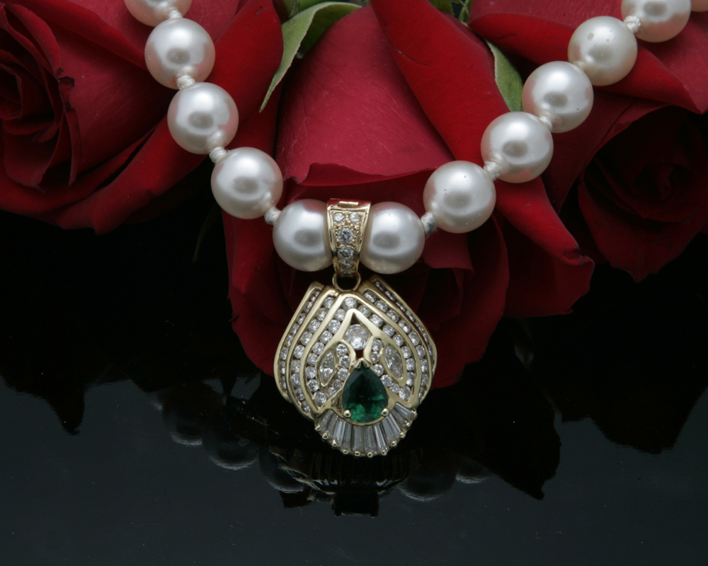 Looking for pearls and pearl enhancers visit diamonds pearls and jade designs by sophia custom designed emerald and diamond pendant pearl enhancer aloadofball Image collections